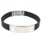 SB0009 Men's Punk Style Stainless Steel Silicone Bracelet - Black + Silver