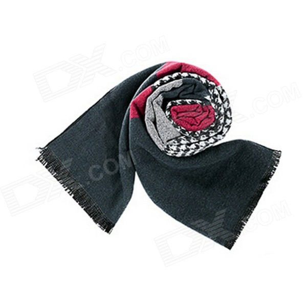 Men's Stylish Houndstooth Patterned Scarf Muffler - Black + Multicolored