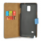 Protective Artificial Leather Case w/ Stand for Samsung Galaxy Note 4 - Blue
