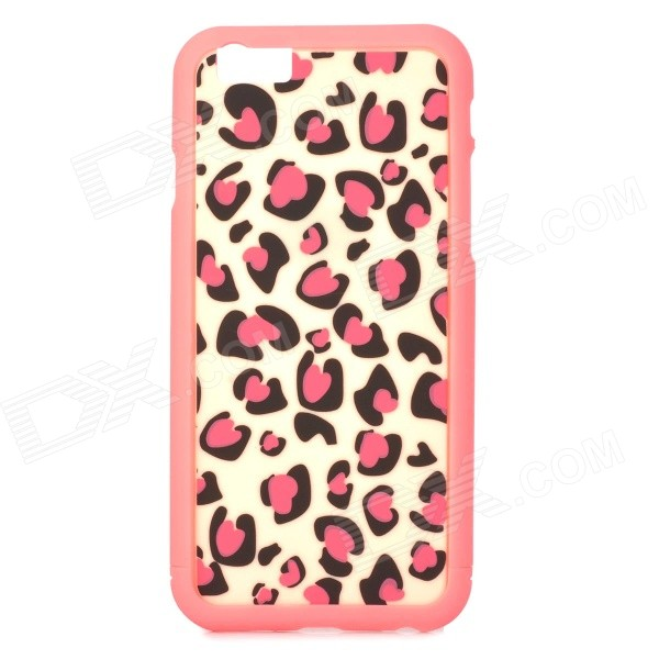 Leopard Skin Pattern ABS Back / Bumper Frame Case for IPHONE 6 4.7 - Pink + Black purple fashionable leopard leather skin hard cover for iphone 5c