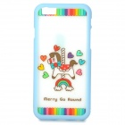 "Cartoon Horse Pattern ABS Back / Bumper Frame Case for IPHONE 6 4.7"" - White + Blue"