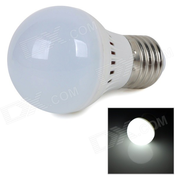 E27 2W 220lm 6000K White Light 5730 SMD LED Bulb - White + Silver (AC 220~240V)