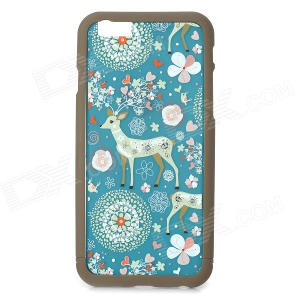 Deer Pattern ABS Back / Bumper Frame Case for IPHONE 6 4.7 - Blue + Brown stylish bubble pattern protective silicone abs back case front frame case for iphone 4 4s