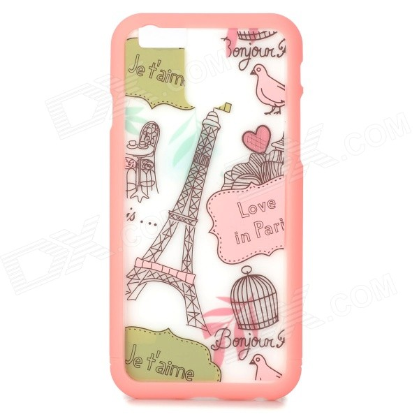 Eiffel Towel Pattern ABS Back / Bumper Frame Case for IPHONE 6 4.7 - Pink + White cartoon pattern matte protective abs back case for iphone 4 4s deep pink