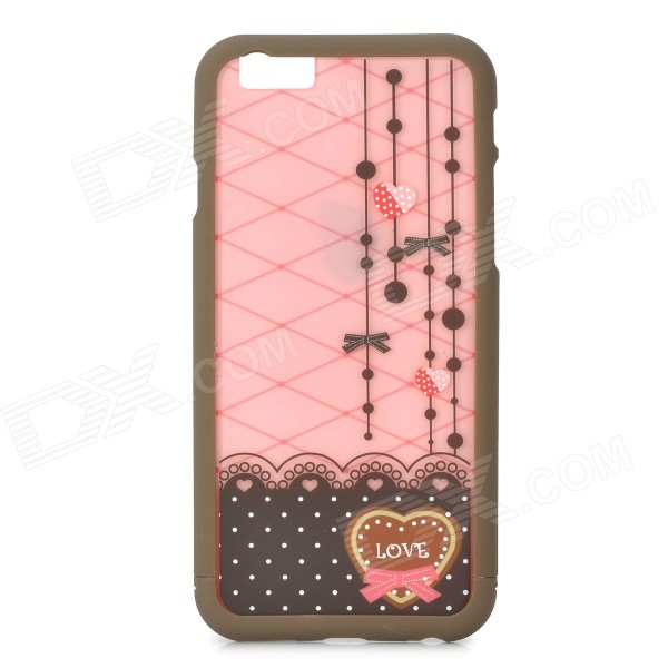 Lace Pattern ABS Back / Bumper Frame Case for IPHONE 6 4.7 - Pink + Brown cartoon pattern matte protective abs back case for iphone 4 4s deep pink