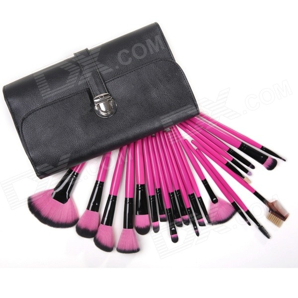 MeGooDo CB82036 22-in-1 Professional Soft Cosmetic Makeup Synthetic Fiber Brush Set w/ Case - Pink
