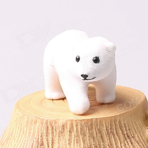 Cute Polar Bear Style Vinyl Flocking Decoration - White