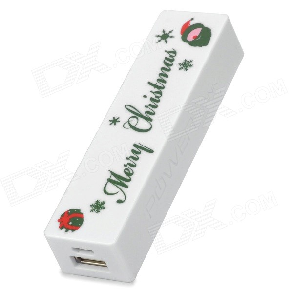 """Merry Christmas\"" Mønster Universal Mobile \""2600mAh\"" Power Bank - Hvit"