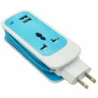 Dual USB 2.1A US Plugs Charging Adapter w/ Socket for IPHONE + More - Light Blue (100~240V / 150cm)