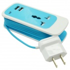 Dual USB 2.1a US Plugger Lade Adapter w / Socket for IPHONE + mer - Light Blue (100 ~ 240V / 150cm)
