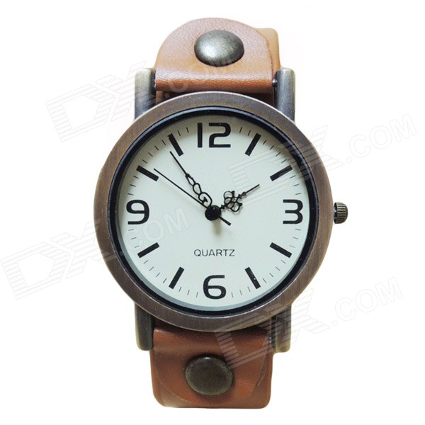 Fashionable Retro Split Leather Band Analog Quartz Watch - Brown + Bronze (1 x AG4)