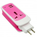 Dual USB 2.1A US Plugs Charging Adapter w/ Socket for IPHONE + More - Deep Pink (100~240V / 150cm)