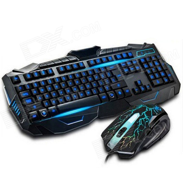 YDL-G-3 USB 2.0 Wired 114-Key Backlit Gaming Keyboard + Mouse Kit - Black