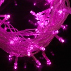 9.6W 50lm 450nm 100-LED Pink Purple Christmas Light Strip - White (EU Plug / AC 220V / 10M)