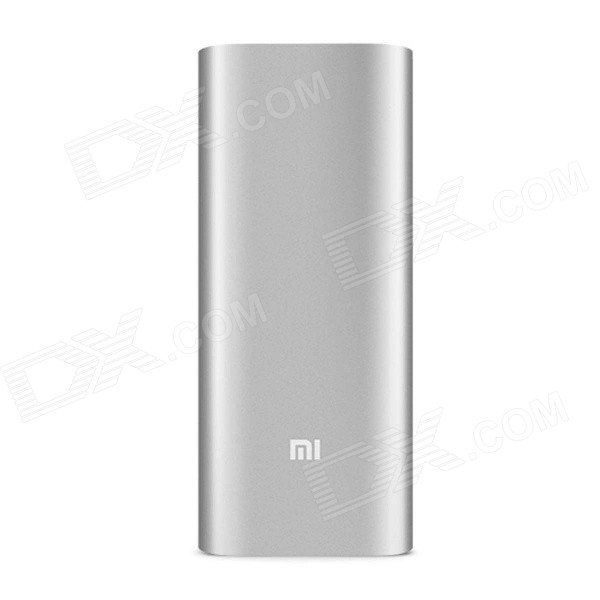 XIAOMI Genuine 16000mAh Dual USB Mobile Li-ion Power Bank w/ 4-LED Indicators - Silver + White xiaomi universal 10400mah usb li ion battery power bank w 4 led indicators deep pink
