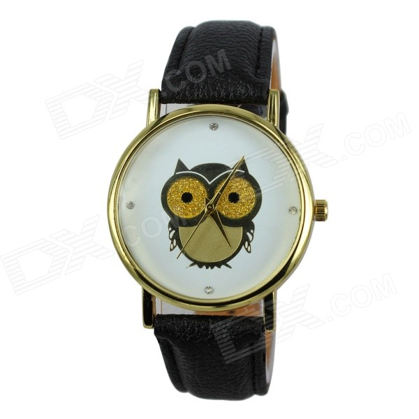 Women's Owl Pattern PU Band Analog Quartz Watch - Black (1 x 377)