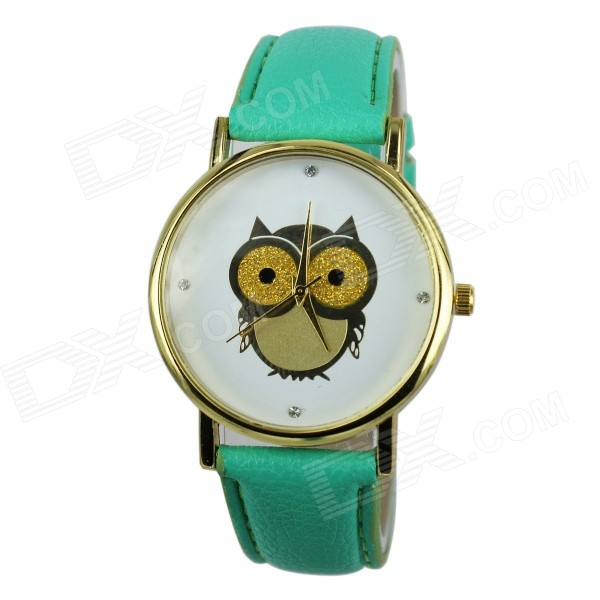 Women's Owl Pattern PU Band Analog Quartz Watch - Green (1 x 377)