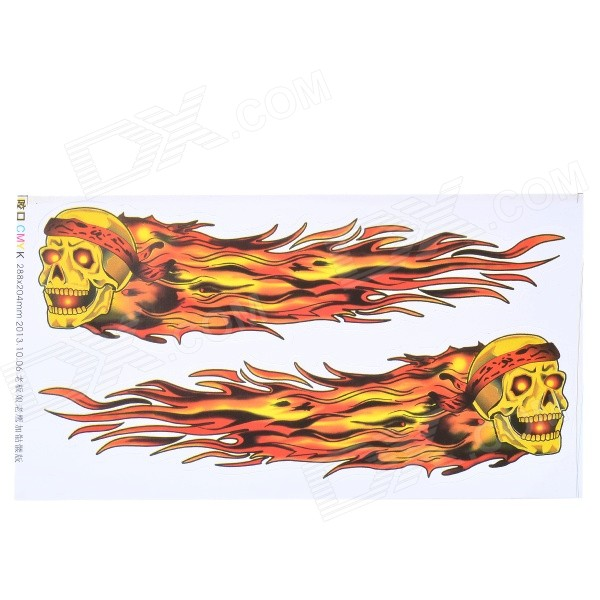 DIY Cool Flame Skulls Pattern Car Body Stickers Set - Red + Yellow auto accessories chameleon sticker 30m 1 52m functional car pvc red copper color stickers home decorative films stickers