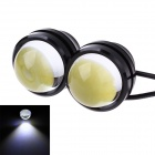 3W 800ml 6000K White COB LED Car  Fog Light Daytime Running Lamp - Black + Transparent(2 PCS)