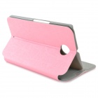Protective Flip-Open PU + PC Case w/ Stand / Suction Cup Closure for Google Nexus 6 - Pink