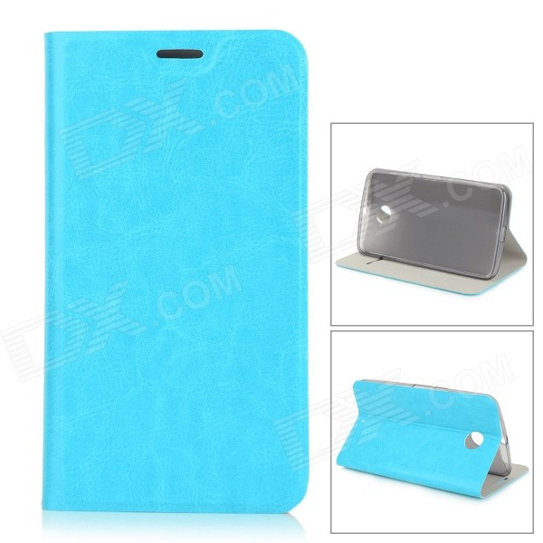 Protective Flip-Open PU + TPU + Manganese Steel Case w/ Stand / Card Slot for Google Nexus 6 - Blue