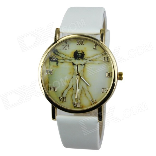 Women's Fashion Jesus Pattern PU Band Analog Quartz Watch - White (1 x 377)