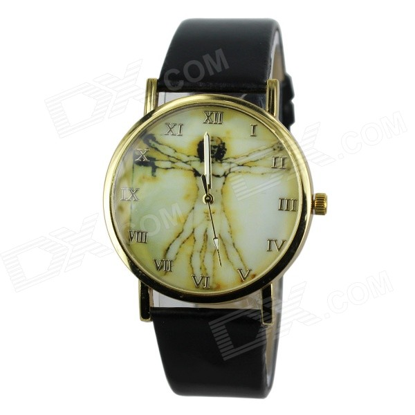 Women's Fashion Jesus Pattern PU Band Analog Quartz Watch - Black (1 x 377)