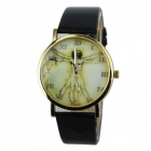 Women's Fashion Vitruvian Man Pattern PU Band Analog Quartz Watch - Black (1 x 377)