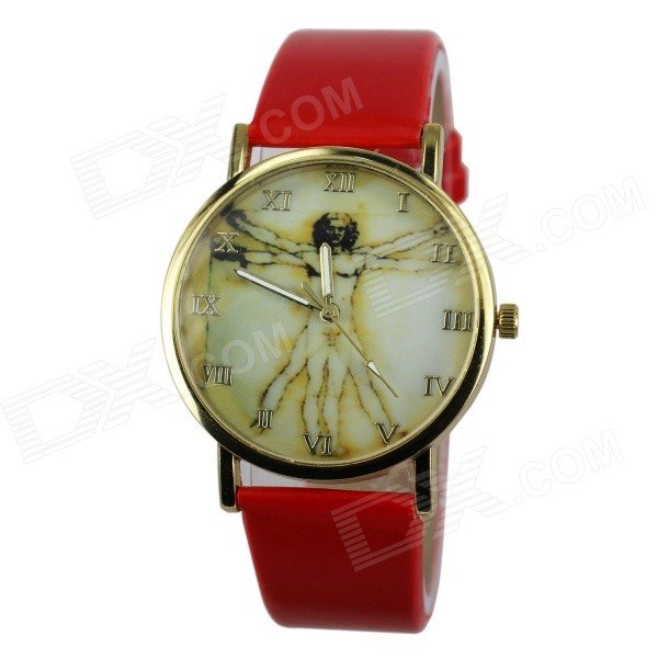 Women's Fashion Jesus Pattern PU Band Analog Quartz Watch - Red (1 x 377)