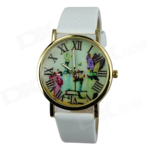 Women's Fashion Flowers & Vases Pattern PU Band Analog Quartz Watch - White (1 x 377)