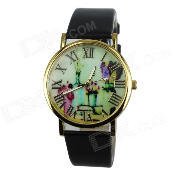 Women's Fashion Flowers & Vases Pattern PU Band Analog Quartz Watch - Black (1 x 377)