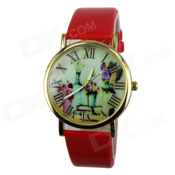 Women's Fashion Flowers & Vases Pattern PU Band Analog Quartz Watch - Red (1 x 377)