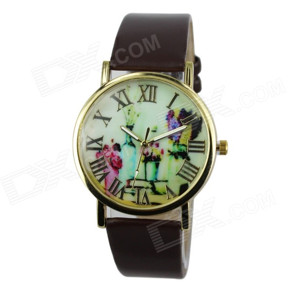 Women's Fashion Flowers & Vases Pattern PU Band Analog Quartz Watch - Brown (1 x 377)