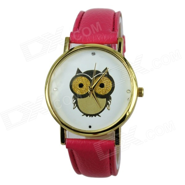 Women's Owl Pattern PU Band Analog Quartz Watch - Deep Pink (1 x 377)