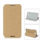 Protective Flip-Open PU + PC Case w/ Stand / Suction Cup Closure for Google Nexus 6 - Golden