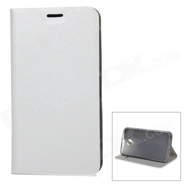 Protective Flip-Open PU + TPU + Manganese Steel Case w/ Stand / Card Slot for Google Nexus 6 - White protective flip open pu leather case w card slot for lg e960 nexus 4 white