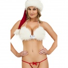 Christmas Ultra-Sexy Lingerie + T-String + Hat Set - White + Red
