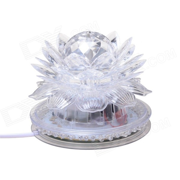 6W Lotus Style 48 + 3-LED RGB Four Color Light Voice-Activated / Auto Rotating Party Stage Lamp  zndiy bry sunflower 48 led rgb light 8w voice activated auto rotating party stage eu plug
