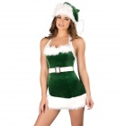 Sexy Cosplay Miss Claus Style Dress + Hat for Christmas - Green + White