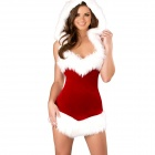 Sexy Cosplay Miss Claus Style Hooded Dress for Christmas - Red + White
