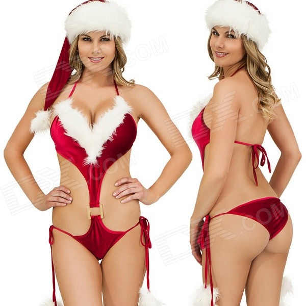 Christmas Sexy One-Piece Lingerie w/ Hat - Red + White стоимость