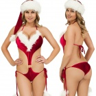 Christmas Sexy One-Piece Lingerie w/ Hat - Red + White