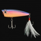 Yoshi Kawa Popper Fishing Hook with Tail Feather - Blue + Red