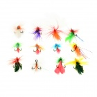 Insect Style Fishing Bait Barbed Hooks - Multicolor (12 PCS)