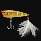 Yoshi Kawa Popper Fishing Hook with Tail Feather - Yellow