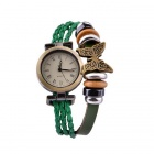 Ladies' Retro Braided Rope + Leather Band Butterfly Decoration Quartz Bracelet Wrist watch - Green