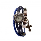 Women's Knitted Cross Decoration Round Dial PU Band Analog Quartz Bracelet Wrist Watch - Blue