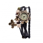 Women's Retro Butterfly Decoration PU Band Analog Quartz Bracelet Wrist Watch - Black + Bronze