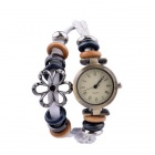 Women's Fashionable Retro Leather Band Analog Quartz Hand Knitting Bracelet Wrist Watch - White