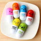 Pill Style Different Expressions Stretchable Fluorescent Color Pens - Random Color Delivery (6 PCS)